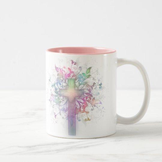 Floral Pastel Two-Tone Coffee Mug
