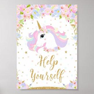 Floral Pastel Unicorn Help Yourself Sign Decor