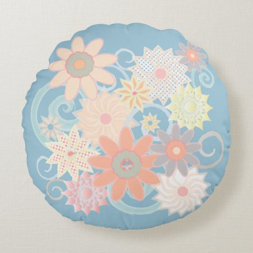 Floral Pastel Watercolor Round Throw Pillow, Blue Round Pillow Zazzle