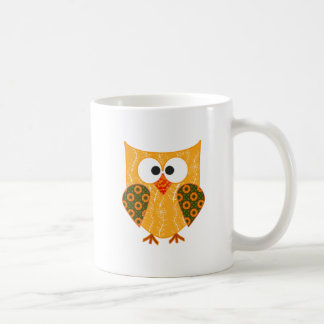 Floral Patchwork Applique Style Cut Owl Coffee Mug