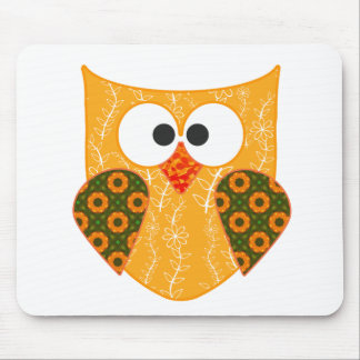 Floral Patchwork Owl Mouse Pad