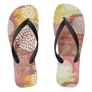 Floral pattern 2 flip flops