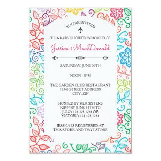 Floral Pattern - 3x5 Baby Shower Invitation