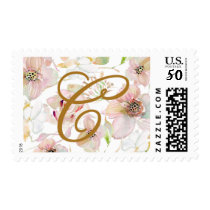 Floral Pattern and Monogram Wedding Postage