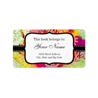 Floral Pattern and Watercolor Abstract Painting Label