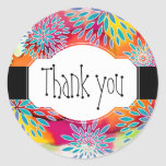Floral Pattern and Watercolor Abstract Painting Classic Round Sticker
