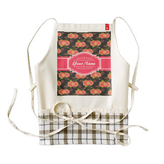 Floral Pattern Background Pink Personalized Name Zazzle HEART Apron
