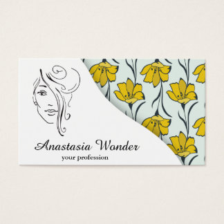 Floral pattern beauty industry profession business card