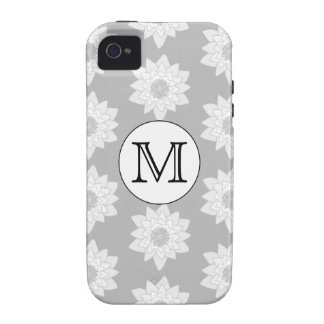Floral Pattern, Black and White Custom Monogram. Case-Mate iPhone 4 Covers