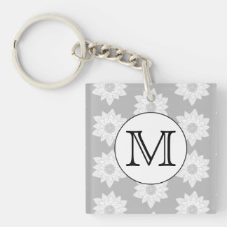 Floral Pattern, Black and White Custom Monogram. Acrylic Key Chain