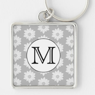 Floral Pattern, Black and White Custom Monogram. Keychain