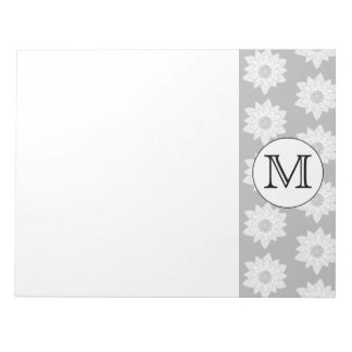 Floral Pattern, Black and White Custom Monogram. Scratch Pad