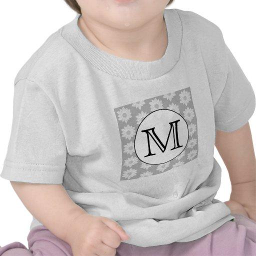 Floral Pattern, Black and White Custom Monogram. Tee Shirt