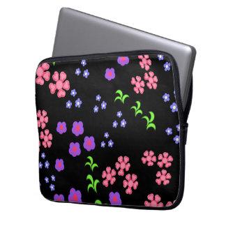 Floral pattern black background computer sleeve