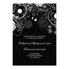 Floral Pattern Black/white - Reception Invitation at Zazzle