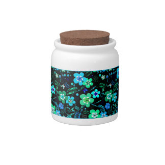 Floral pattern blue and teal candy jar