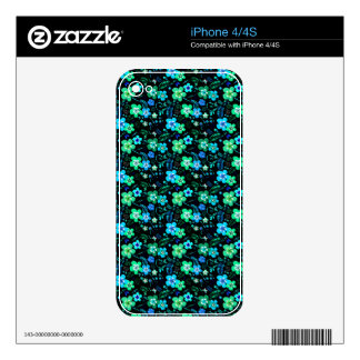 Floral pattern blue and teal iPhone 4 decals