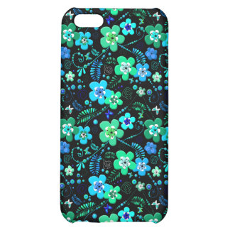 Floral pattern blue and teal iPhone 5C cases
