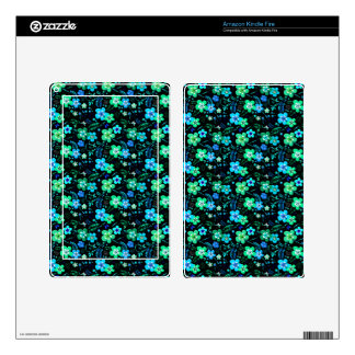 Floral pattern blue and teal kindle fire decals