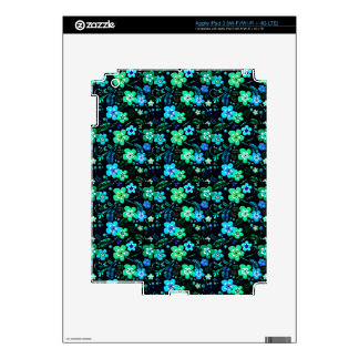 Floral pattern blue and teal skins for iPad 3
