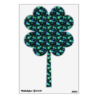 Floral pattern blue and teal wall decal