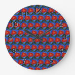 Floral Pattern. Blue with Red Poppy Flower. Wall Clock