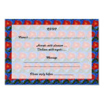 """Floral Pattern. Blue with Red Poppy Flower. 3.5"""" X 5"""" Invitation Card"""