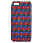 Floral Pattern. Blue with Red Poppy Flower. iPhone 5C Case