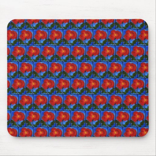 Floral Pattern. Blue with Red Poppy Flower. Mousepads