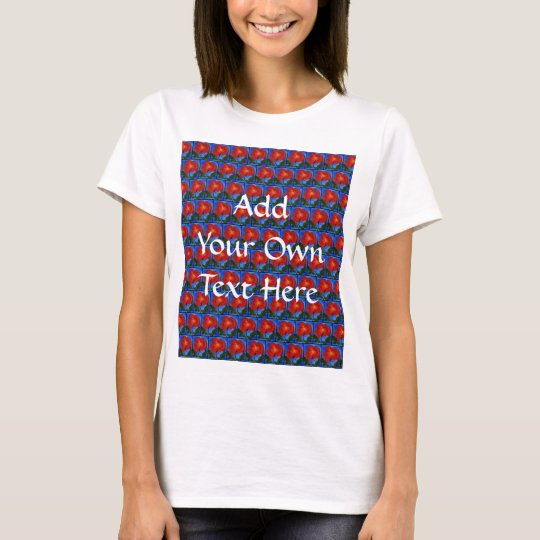 Floral Pattern. Blue with Red Poppy Flower. T-Shirt