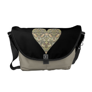 Floral Pattern by William Morris into Heart Messenger Bag