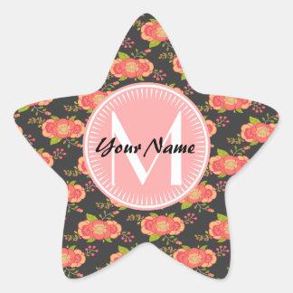 Floral Pattern Coral Custom Monogram Star Sticker