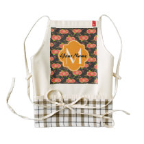Floral Pattern Custom Monogram Zazzle HEART Apron