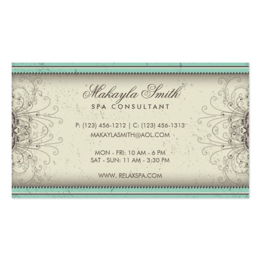 Floral Pattern Damask Elegant Modern Classy Retro Business Card Template (back side)