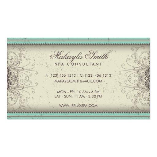 Floral Pattern Damask Elegant Modern Classy Retro Business Card Template (back side)
