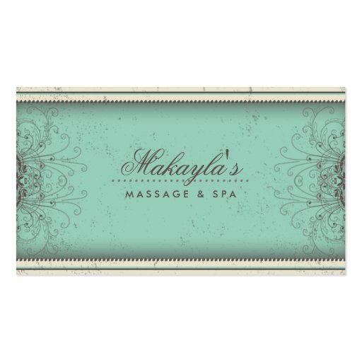 Floral Pattern Damask Elegant Modern Classy Retro Business Card Template (front side)