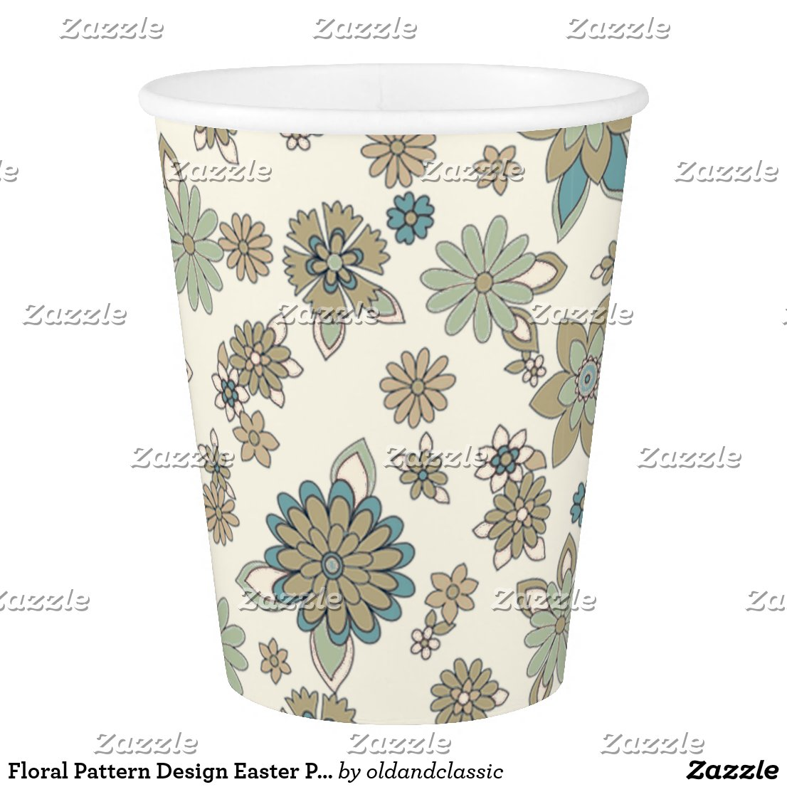 Floral Pattern Design Easter Party Paper Cups
