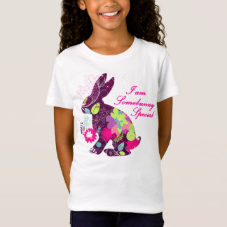 Floral Pattern Easter Bunny Rabbit T-Shirt