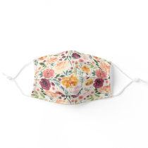 Floral Pattern Face Mask, Woman Adult Cloth Face Mask
