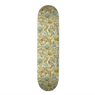 Floral pattern: flowers and butterflies skate boards