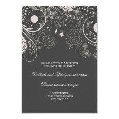 Floral Pattern Gray/white - Reception Invitation at Zazzle