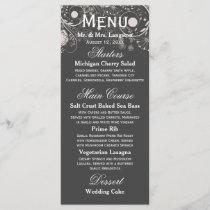 Floral Pattern Gray/White - Reception Menu