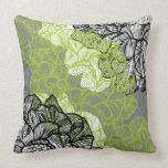 Floral pattern green grey throw pillow
