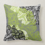 "Floral pattern green grey throw pillow<br><div class=""desc"">Custom designer throw pillow features an elegant floral damask pattern vector illustration.</div>"
