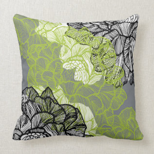 Floral pattern green grey throw pillow at Zazzle