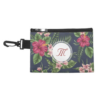 Floral pattern Hibiscus Monogram Clip On A Bag