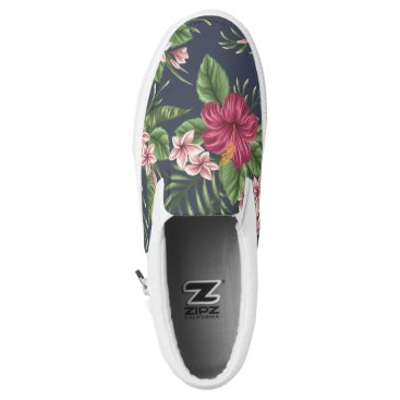 Beach Themed Floral Pattern Hibiscus Monogram Slip On Shoes