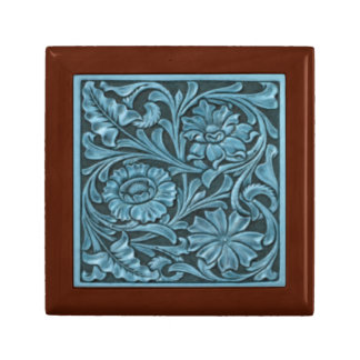 Floral Pattern in Blue Jewelry Box
