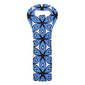 Floral pattern in blue wine bag