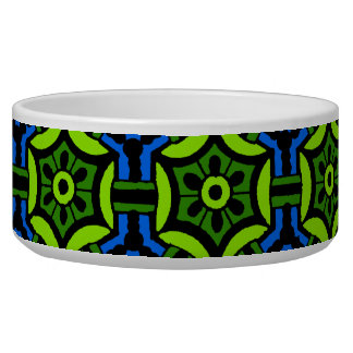 Floral Pattern in Bold Green and Blue Bowl